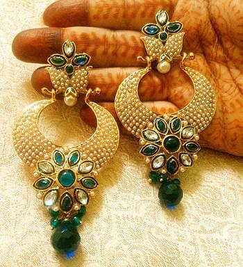 Designer gorgeous blue copper alloy earrings