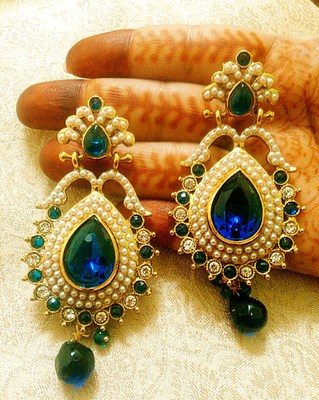 Designer gorgeous blue copper alloy earrings