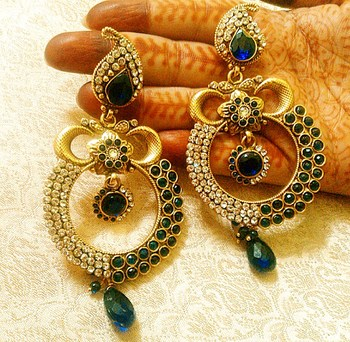 Royal Designer Blue Copper AD Zircon Earrings For Wedding, Party, Gifts-LCER05B