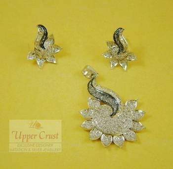 CZ Rhodium Plated Pendent Earring Jewellery