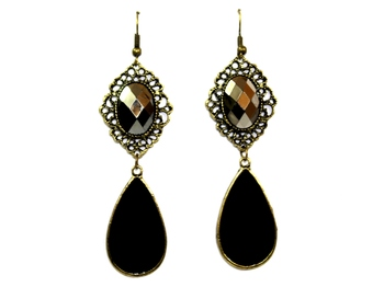 Morcrest Black Rhinestone Statement Earrings