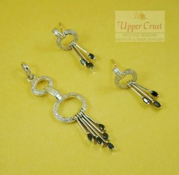CZ Black Onyx Pendent Earring Jewellery