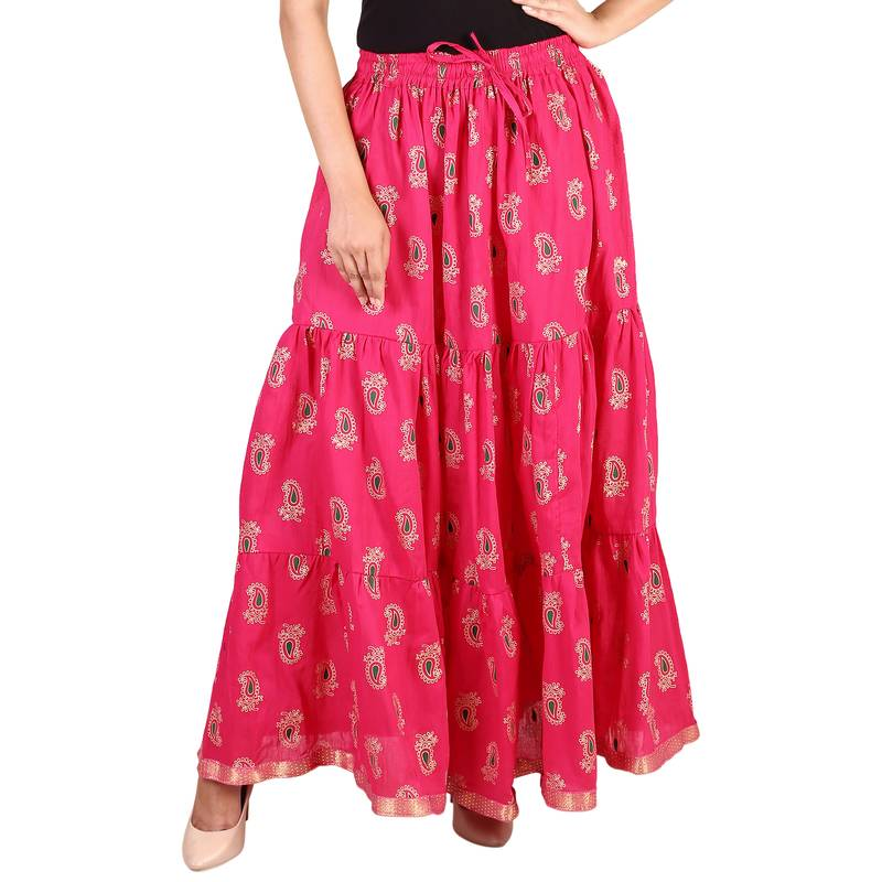 Pink Cottton Gold Printed Tiered Long Skirt For Women Skirt Free Size Skirts Home Shop Gift 2429601