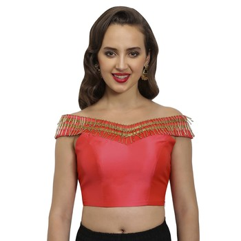 Coral polysilk fashion neck readymade  blouse