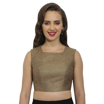 Bronze-gold polyjute square neck readymade  blouse