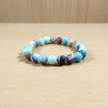 Amazonite Beads Bracelet Size 8MM , Unisex Bracelet , Aura Cleansing , Meditation Crystal Stone