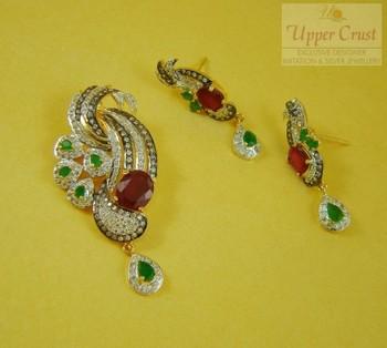 Ruby Panna Zircon Pendent Earring Jewellery
