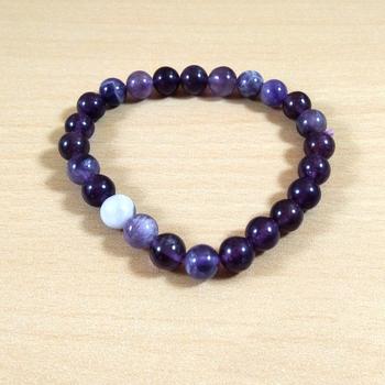 Amethyst Bead Bracelet Size 8MM Gem Chakra  Jewelry Unisex Bracelet Yoga