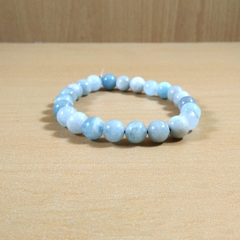 Aquamarine Bead Bracelet Size 8MM  Gem Jewelry Chakra Cleansing