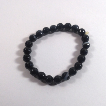 Black Hakik Diamond Cut Bead Bracelet Size 8MM unisex Bracelet Chakra Balancing Chakra Gem
