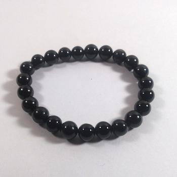 Black Obsidian Bead Bracelet Size 8MM Unisex Bracelet Chakra Balancing