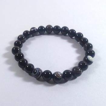 Black Onyx Beads Bracelet Size 8MM Unisex Bracelet Chakra Balancing feng Shui Items