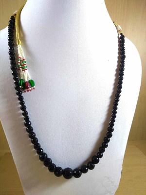 Black Onyx Mala Necklace Boho Beaded Necklace Faceted Onyx Necklace Fancy Necklace