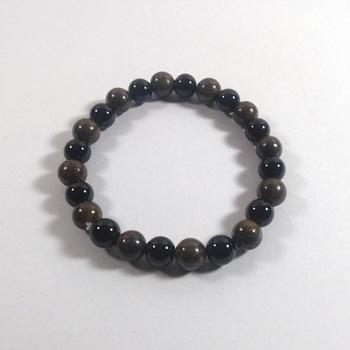 Black Tourmaline + Bronzite Bead Bracelet Size 8MM Unisex Bracelet Chakra Balancing
