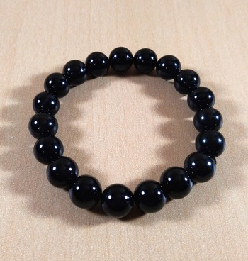Black Tourmaline Bead Bracelet Size-10mm Gem Bracelet Bracelet Reiki Bracelet