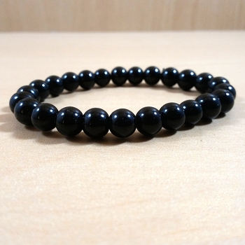 Black Tourmaline Bracelet Size 8MM Black Tourmaline 6mm Stretch Bead Bracelet Meditation Bracelet