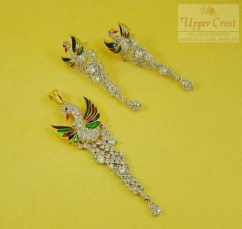 Designer Peacock Meena Zircon Pendent Earring Jewellery