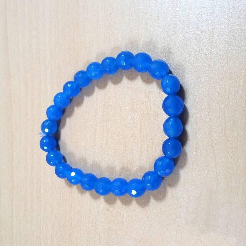 Kanjivaram Beads: Chalcedony Diamond Cut Bead Bracelet Size 8MM Unisex