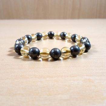 Citrine + Golden Pyrite Bead Bracelet Size 8MM Unisex Bracelet Chakra Balancing