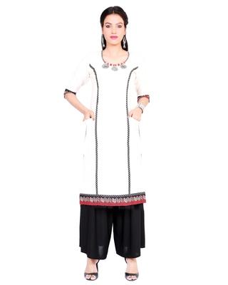 Off white embroidered cotton cotton-kurtis