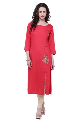 Red embroidered viscose rayon ethnic-kurtis