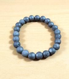 Grey Druzy Agate Bead Bracelet Size 8MM Unisex Bracelet Chakra Balancing Chakra Gem
