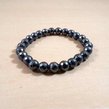 Hematite Diamond Cut Bead Bracelet Size 8MM Unisex Bracelet Chakra  Aura Protection Chakra Cleansing