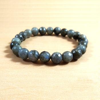 Labradorite Diamond Cut Bead Bracelet Size 8MM unisex Bracelet Chakra Balancing Chakra Gem