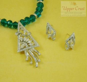 Zircon Pendent Stud Earring Necklace Jewellery Set