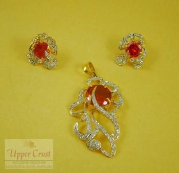 Designer Orange Zircon Pendent Earring Jewellery
