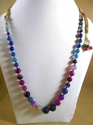 Multi Onyx Mala Necklace Boho Beaded Necklace Faceted Onyx Necklace Fancy Necklace