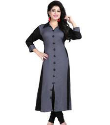 Grey plain rayon stitched long-kurtis