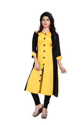 Yellow plain rayon stitched long-kurtis
