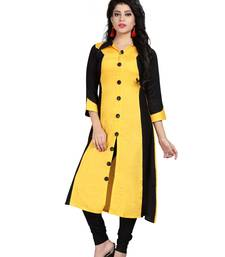 Yellow plain rayon stitched long-kurtis