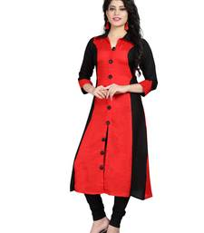 Red plain rayon stitched long-kurtis
