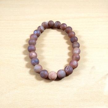Peach Druzy Agate Bead Bracelet Size 8MM Unisex Bracelet Yoga Meditation  Chakra Gem