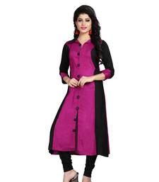 Pink plain rayon stitched long-kurtis