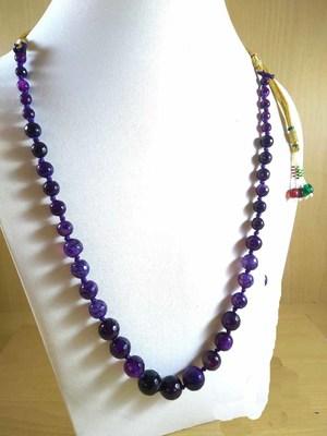 Purple Onyx Mala Necklace Boho Beaded Necklace Faceted Onyx Necklace Fancy Necklace