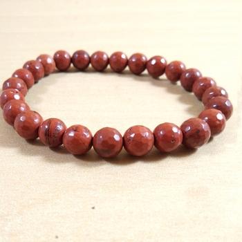 Red Jasper Diamond Cut Bead Bracelet Size 8MM Chakra Balancing Chakra   Aural Cleansing Spiritual