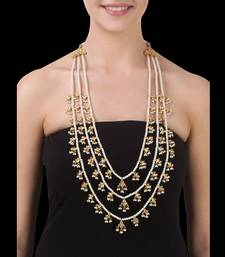 Buy Pearls and Kundan 3 line Teenlada Raani Haar Necklace Necklace online