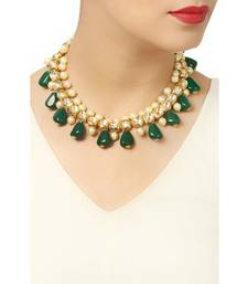 Kundan and Pearls Necklace with Green Onyx Tumble Stone Necklace