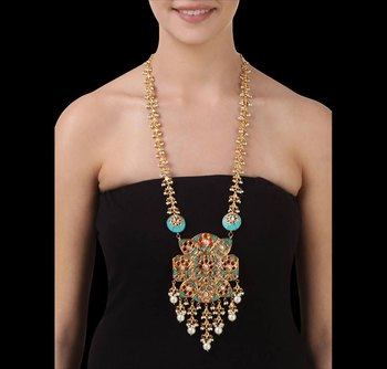 Turquoise Stone Work Pendant with Gold plated Kundan work