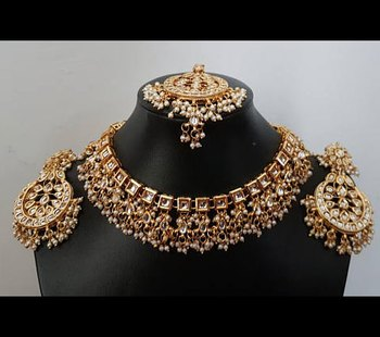 Kundan square Aliya Necklace Set with earrings and tikka
