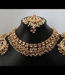 Buy Kundan square Aliya Necklace Set with earrings and tikka necklace-set online