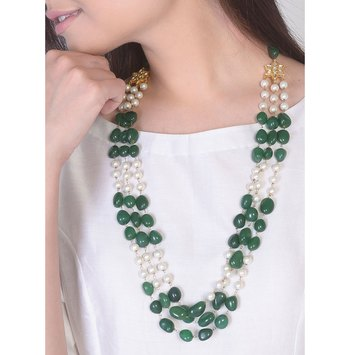 Green Onyx Tumble Stones Necklace With Shell Pearls
