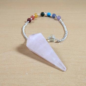 Rose Quartz Gem Dowsing Pendulum With Seven Chakra Chain  Dowser Spiritual divination