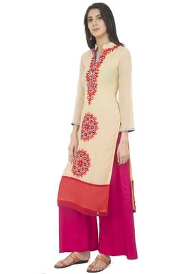 Women's Beige Georgette Embroidery Long Straight kurti