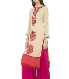 Women's Beige Georgette Embroidery Long Straight kurti