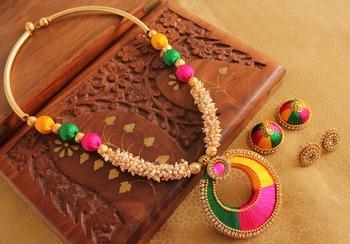 Beautiful Handmade Multicolour Silk Thread Beads Pearl Necklace Set