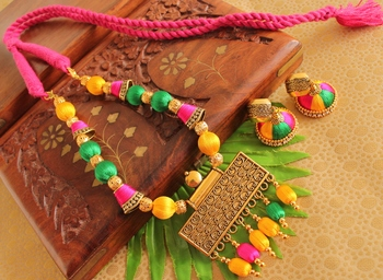 Beautiful Handmade Multicolour Silk Thread Beads Pearl Necklace Set